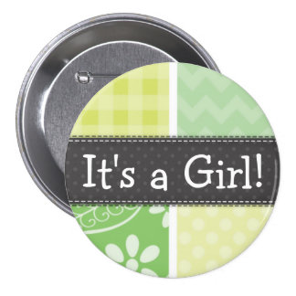 Light Green and Yellow Cute Checkered Pinback Button