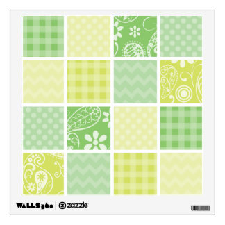 Light Green and Yellow Cute Checkered Wall Sticker