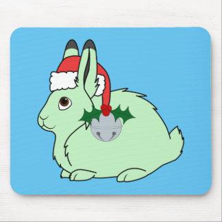 Light Green Arctic Hair - Santa Hat & Silver Bell Mouse Pad