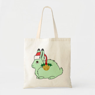 Light Green Arctic Hare - Santa Hat & Gold Bell Budget Tote Bag