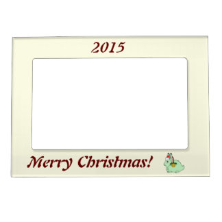 Light Green Arctic Hare - Santa Hat & Gold Bell Magnetic Photo Frames