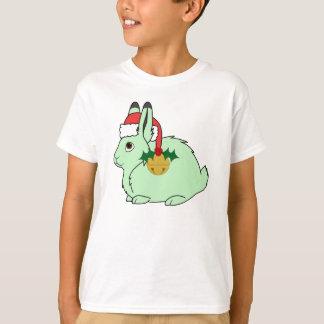 Light Green Arctic Hare - Santa Hat & Gold Bell T-Shirt