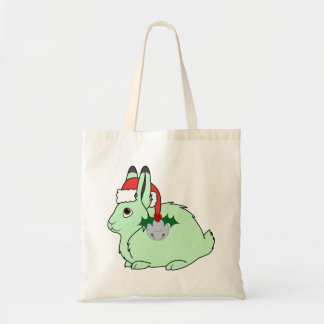 Light Green Arctic Hare - Santa Hat & Silver Bell Budget Tote Bag