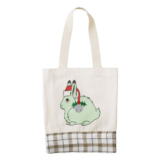 Light Green Arctic Hare - Santa Hat & Silver Bell Zazzle HEART Tote Bag
