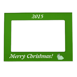 Light Green Arctic Hare with Green Santa Hat Magnetic Frame