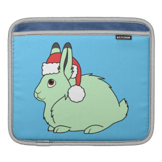 Light Green Arctic Hare with Red Santa Hat iPad Sleeve