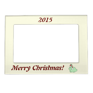 Light Green Arctic Hare with Red Santa Hat Magnetic Picture Frames