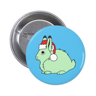 Light Green Arctic Hare with Red Santa Hat Pinback Button