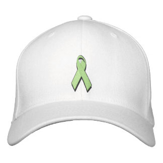 light green awareness ribbon embroidered baseball cap
