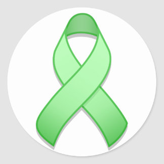 Light Green Awareness Ribbon Round Sticker