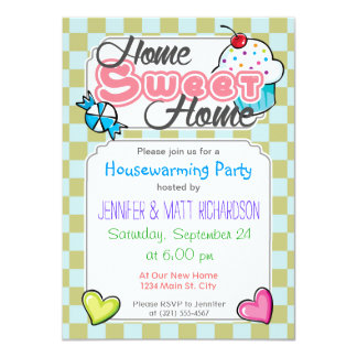 """Light Green, Baby Blue, Checkered Squares 4.5"""" X 6.25"""" Invitation Card"""