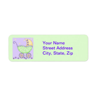 Light Green Baby Buggy Carriage Shower Customized Label