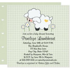 Light Green Baby Lamb Baby Shower Card