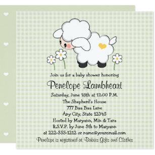 Lamb baby shower invitations zazzle light green baby lamb baby shower invitation filmwisefo