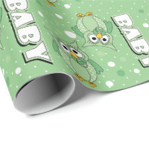 Light Green Baby Polka Dot Owls Wrapping Paper