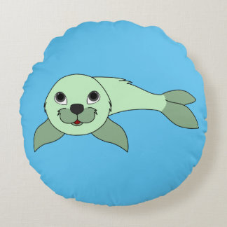 Light Green Baby Seal Round Pillow