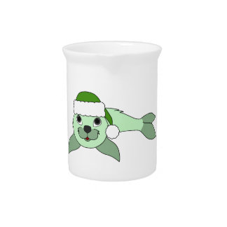 Light Green Baby Seal with Green Santa Hat Beverage Pitchers