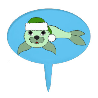 Light Green Baby Seal with Green Santa Hat Cake Topper