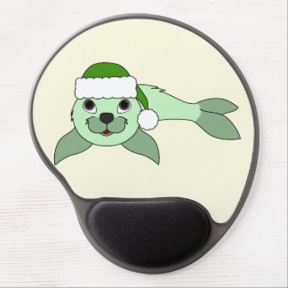 Light Green Baby Seal with Green Santa Hat Gel Mouse Pad