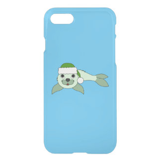 Light Green Baby Seal with Green Santa Hat iPhone 8/7 Case