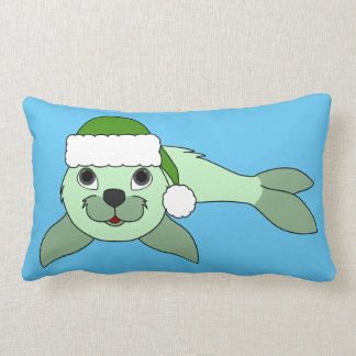 Light Green Baby Seal with Green Santa Hat Lumbar Pillow