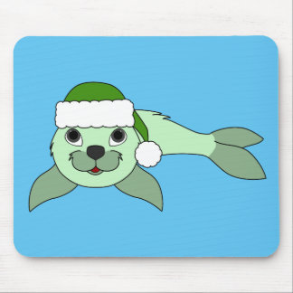 Light Green Baby Seal with Green Santa Hat Mouse Pad