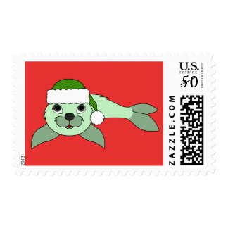 Light Green Baby Seal with Green Santa Hat Postage
