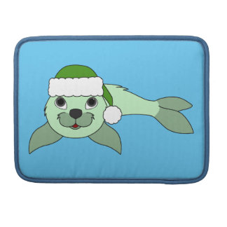 Light Green Baby Seal with Green Santa Hat Sleeve For MacBooks