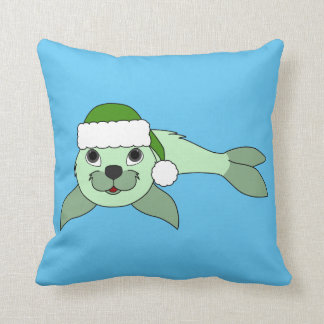 Light Green Baby Seal with Green Santa Hat Throw Pillow