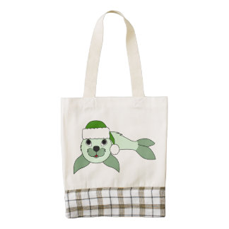 Light Green Baby Seal with Green Santa Hat Zazzle HEART Tote Bag