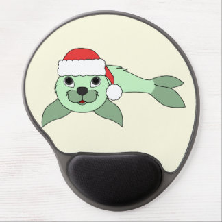 Light Green Baby Seal with Red Santa Hat Gel Mouse Pad