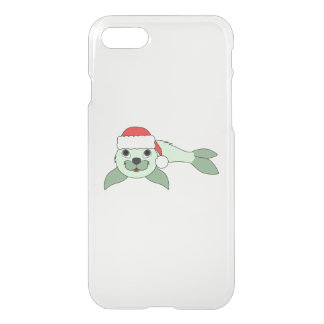 Light Green Baby Seal with Red Santa Hat iPhone 8/7 Case