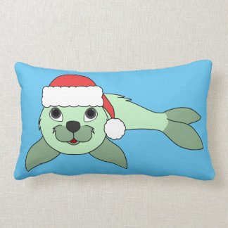 Light Green Baby Seal with Red Santa Hat Lumbar Pillow