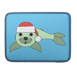 Light Green Baby Seal with Red Santa Hat MacBook Pro Sleeve