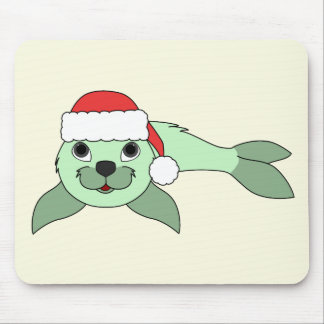 Light Green Baby Seal with Red Santa Hat Mouse Pad