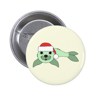 Light Green Baby Seal with Red Santa Hat Pinback Button
