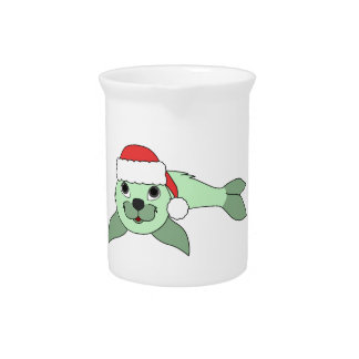 Light Green Baby Seal with Red Santa Hat Pitchers