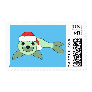 Light Green Baby Seal with Red Santa Hat Postage