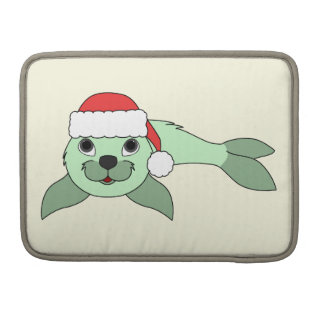 Light Green Baby Seal with Red Santa Hat Sleeve For MacBooks