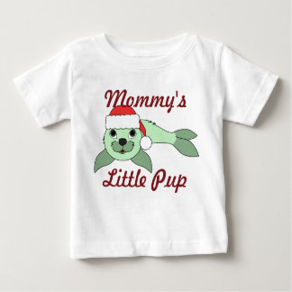 Light Green Baby Seal with Red Santa Hat Tee Shirt