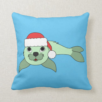 Light Green Baby Seal with Red Santa Hat Throw Pillow