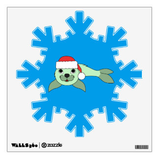 Light Green Baby Seal with Red Santa Hat Wall Decal