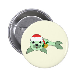 Light Green Baby Seal with Santa Hat & Gold Bell 2 Inch Round Button