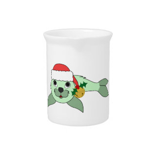 Light Green Baby Seal with Santa Hat & Gold Bell Beverage Pitcher