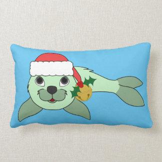 Light Green Baby Seal with Santa Hat & Gold Bell Lumbar Pillow