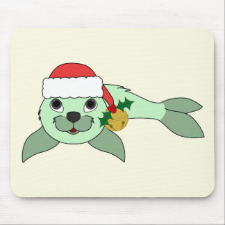 Light Green Baby Seal with Santa Hat & Gold Bell Mouse Pad