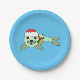 Light Green Baby Seal with Santa Hat & Gold Bell Paper Plate