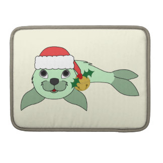 Light Green Baby Seal with Santa Hat & Gold Bell Sleeve For MacBooks