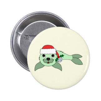 Light Green Baby Seal with Santa Hat & Silver Bell 2 Inch Round Button