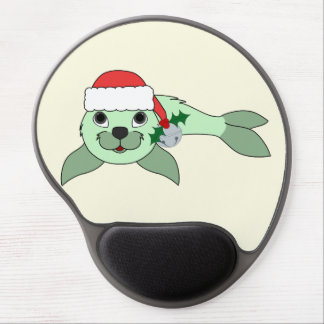 Light Green Baby Seal with Santa Hat & Silver Bell Gel Mouse Pad